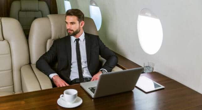 businessman private jet
